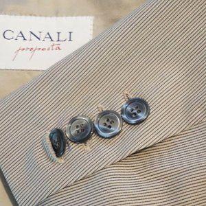 Canali Beige striped 100% Wool Sport Coat Jacket S